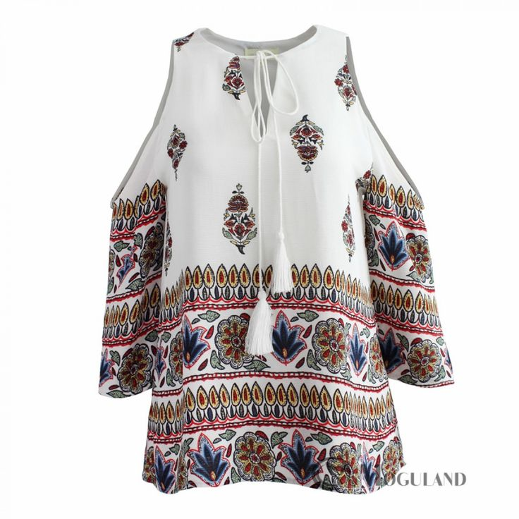 Ladies multi coloured cold shoulder long sleeved boho style top for wholesale - clothing/tops | Moguland.com - Wholesale Women's Clothing