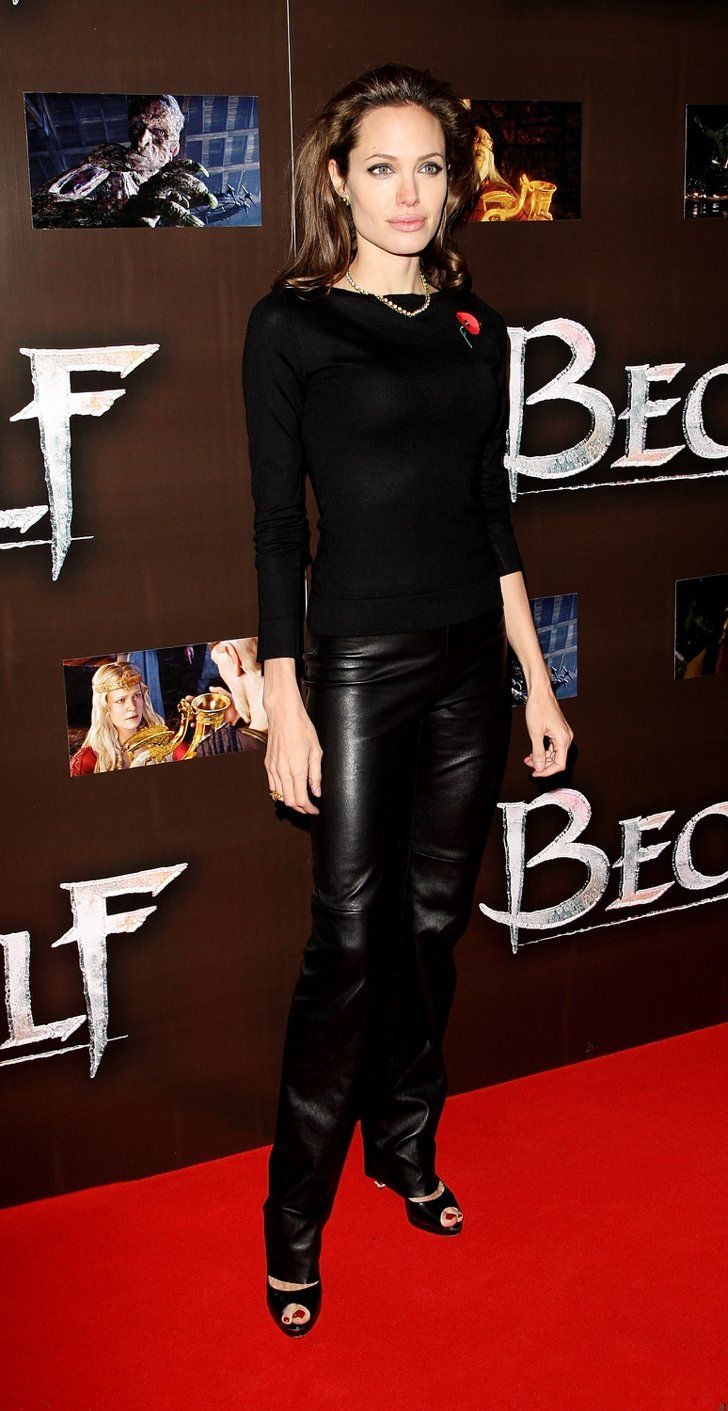 Pin for Later: 52 Reasons to Celebrate Angelina Jolie's Red Carpet Evolution Angelina Jolie's Red Carpet Transformation Angelina rocked leather pants to her premiere of Beowulf in 2007.