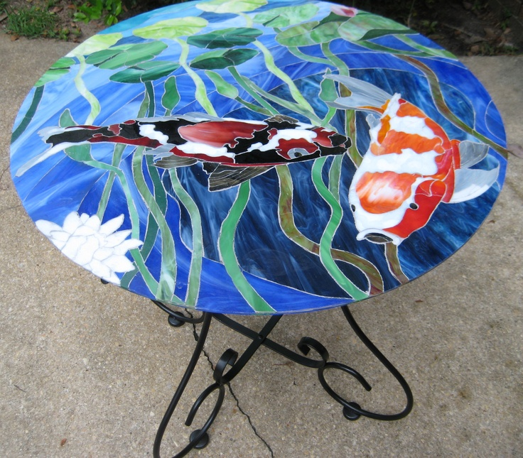 Dulcie Scalf This Stained Glass Table Top Was Created By Dulcie Scalf Using Image 3 Koi Pond