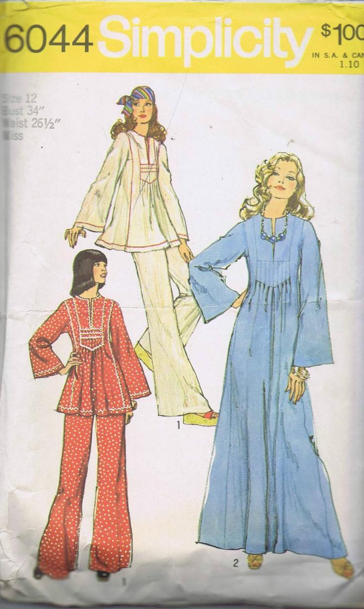 Simplicity Pattern Pattern Number 6044 Copyright: 1973 Vintage 70's Caftan in two lengths and Pants Pattern The Pants pattern view 1 have elastic waistline casing. The short Caftan pattern View 1 or long Caftan View 2 with front slit at high round neckline has tucks below front insets, side, front and back seams. Long set-in kimono type sleeves. View 1 Caftan is trimmed with rick-rack or zig zag stitching.