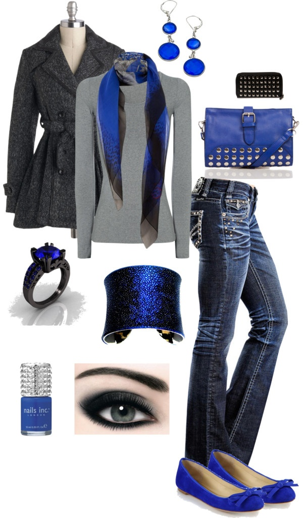 """""""Royal Blue and Greys"""" by crzrdnk77 on Polyvore"""