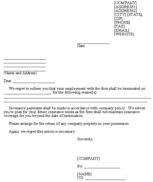 Termination of Employment template Employment Legal Forms - generic termination letter