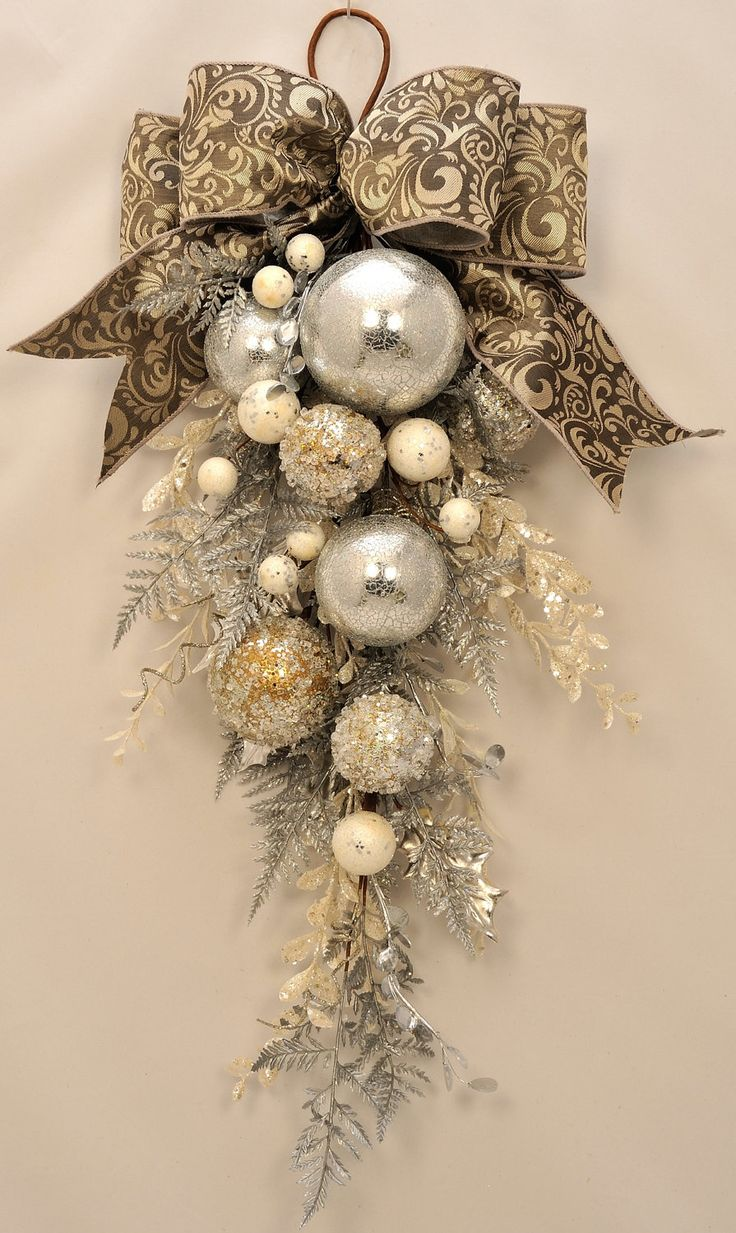 elegant christmas stunning ornament and crystal christmas swag holiday swag winter swag winter wreath christmas wreath silver wreath diy christmas - Decorating With Silver And Gold For Christmas