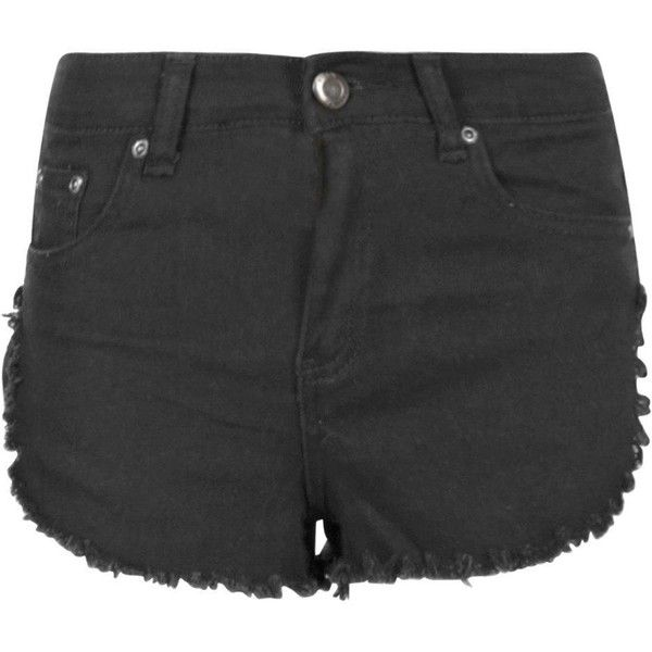 Boohoo Petite Mel Fringe Hem Denim Short | Boohoo ($18) ❤ liked on Polyvore featuring shorts, cotton shorts, jean shorts, short jean shorts, petite shorts and petite denim shorts