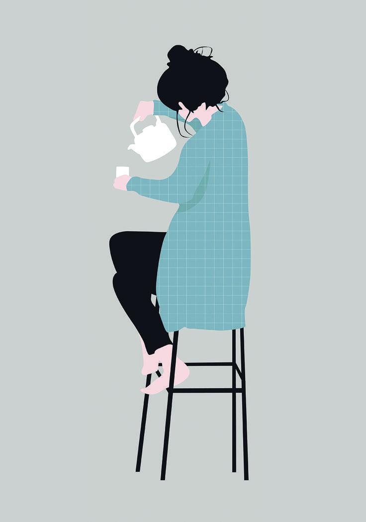 Vector Woman Drinking Tea