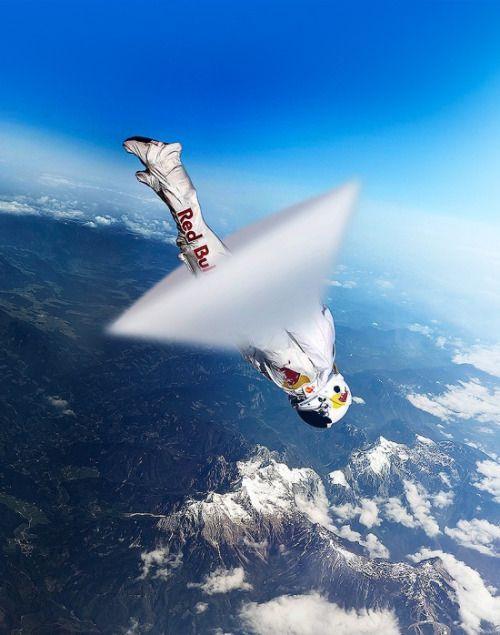 """ Skydiver Felix Baumgartner breaking sound barrier for Red Bull Stratos """