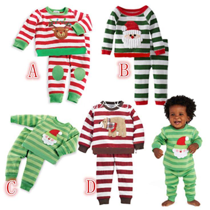 Дети рождественские пижамы установить детские костюмы мальчика костюм рождество вышитые флис санта-клауса рождественские пижамы DHL бесплатная