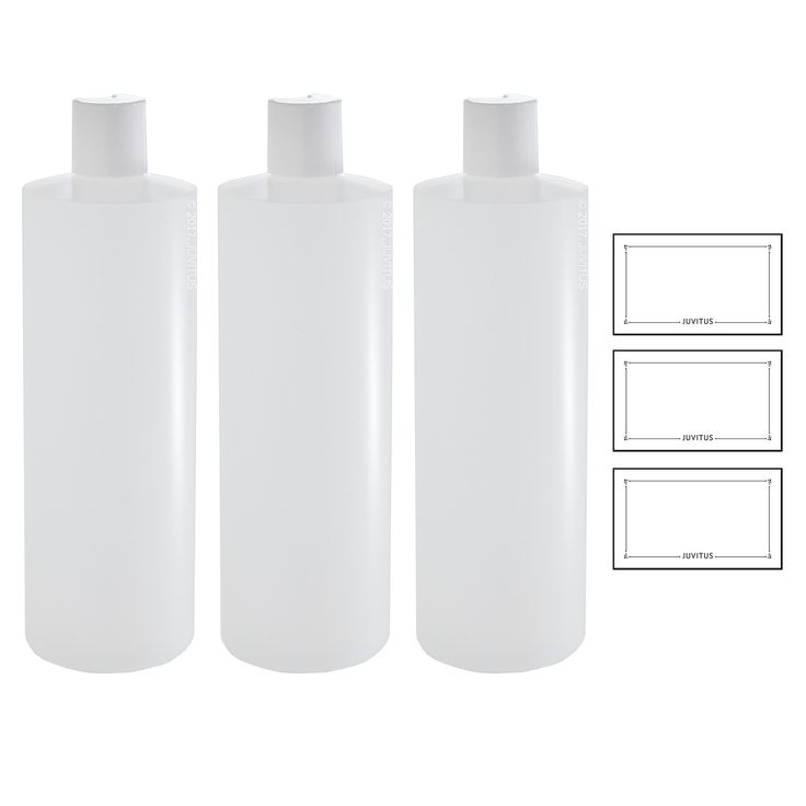 Clear Natural Refillable Plastic Squeeze Bottle with White Disc Cap 16 oz + Labels