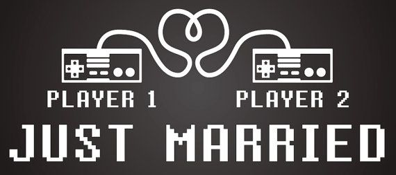 8-bit Love / Player 1, Player 2 Just Married Wedding Vinyl Window Cling Decal on Etsy, $23.00