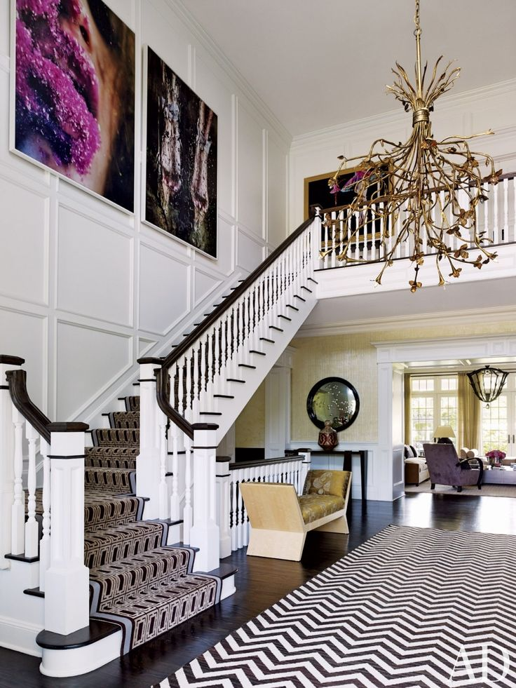 Dining Room Gold Leather Longue Chair With Staircase White Dark Brown Moldings Chevrun Rug Also Gold Copper Chandelier And Better Decorating Bible Blog Interiors Design Besides Round Classic Glass Mirror  Art Paint Room Design   Choose the Right Rug for Dining Room