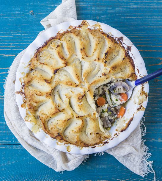 Hemsley + Hemsley's healthy take on a chicken pie is packed with extra veggies thanks to its cauliflower mash topping