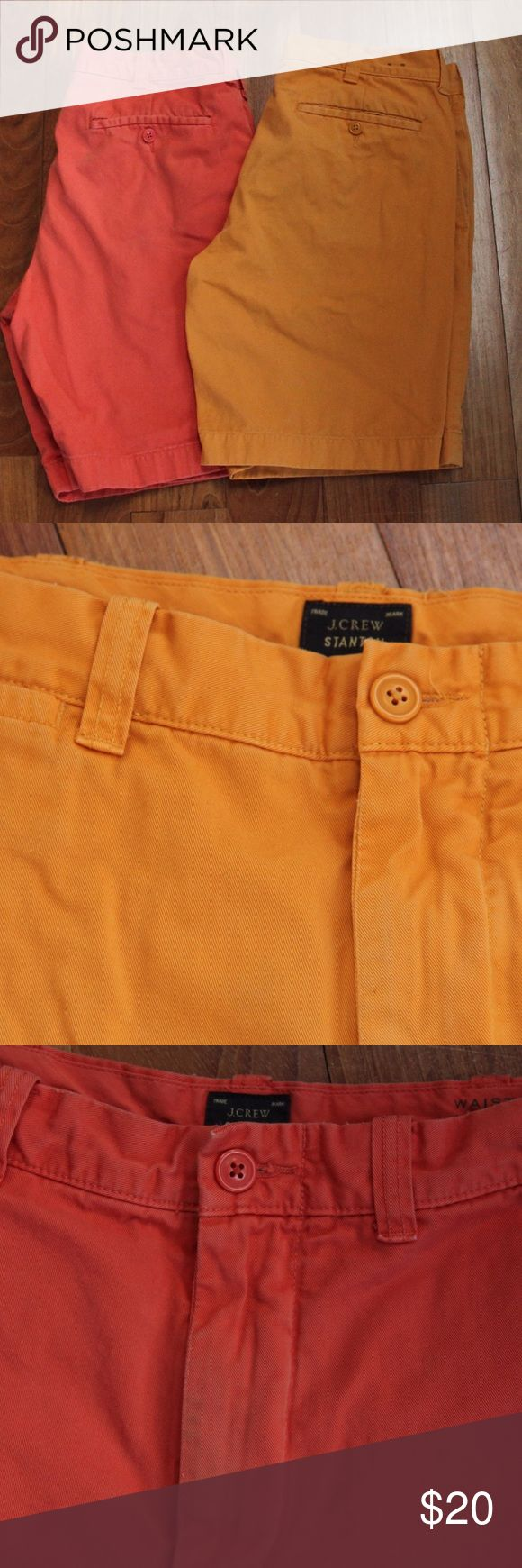 2 Pairs of J Crew Shorts Two pairs of Jcrew Men's shorts! Cotton Twill. Both a little faded, but still awesome finds! Coral pair has some wear in the front- see photo. No stains or tears. Hipster Perfect! J. Crew Shorts