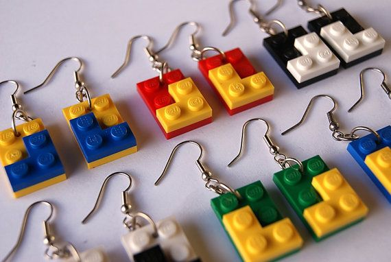 Lego earrings – Make any combination of colors! - blue/yellow/red/green/black/white – (upcycled/repurposed LEGO toy)