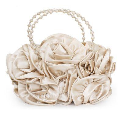 Glänzende Seide mit Perlen verziert Wristlet Taschen/Braut Geld-Beutel (012047908)