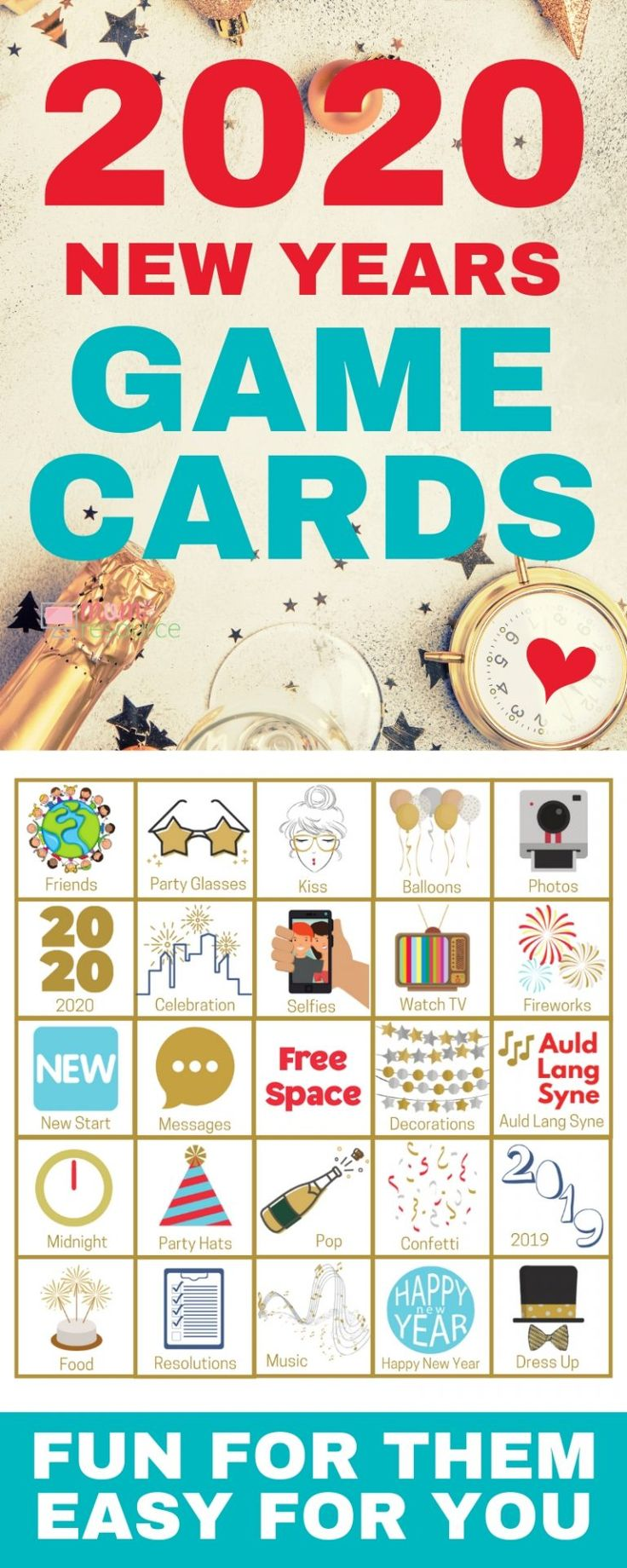 New Years Even bingo cards easy to play, modern & fun