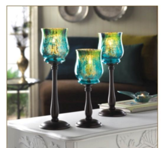 Table Candle Holders Tabletop Trio Glass Romantic Room Home Decoration Set     #TableCandleHolders