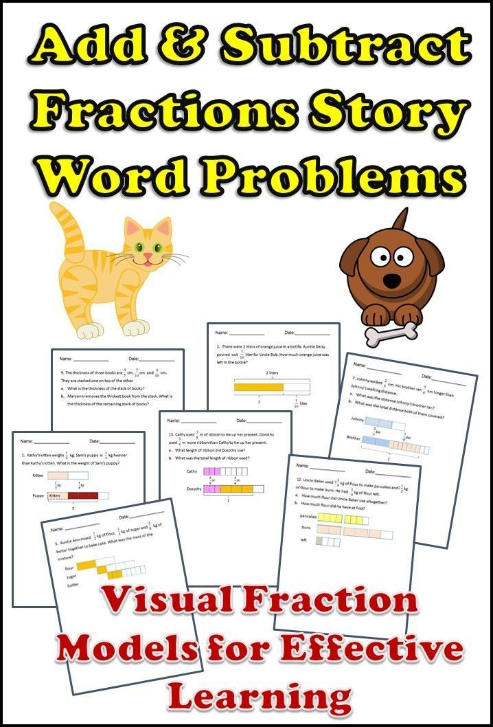 Fractions Word Problems Worksheets Add And Subtract 4th 5th Grade In 2021 Fraction Word Problems Word Problem Worksheets Word Problems Adding mixed fractions visual worksheet