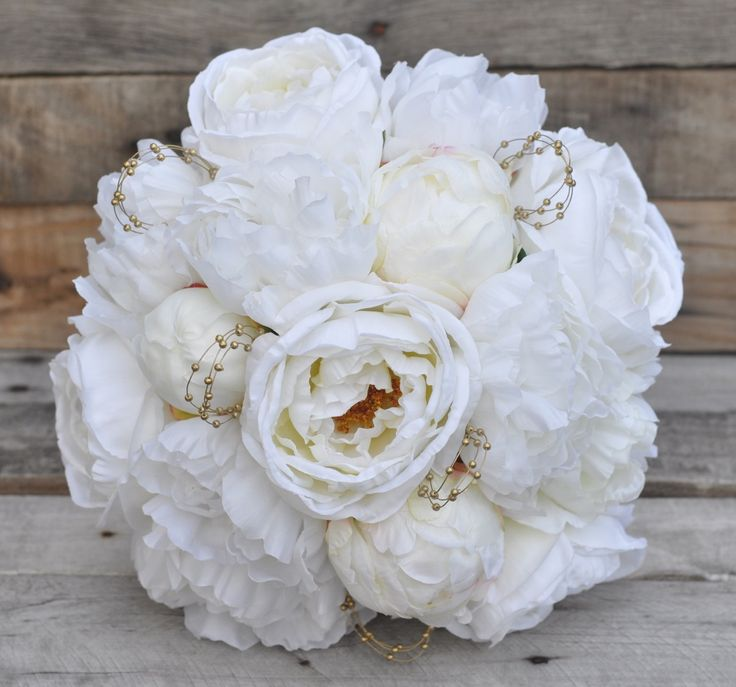 Ivory cabbage rose and peony silk flower bouquet with gold accents, perfect for your destination wedding and keeping forever! Holly's Wedding Flowers. Holly's Flower Shoppe