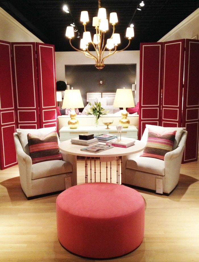 These panel screens upholstered in raspberry linen with white tape trim by @Debbie Arruda Ramsey Chair will provide either a fresh crisp back drop or separating room divider. 330 N. Hamilton St. #HPMKT