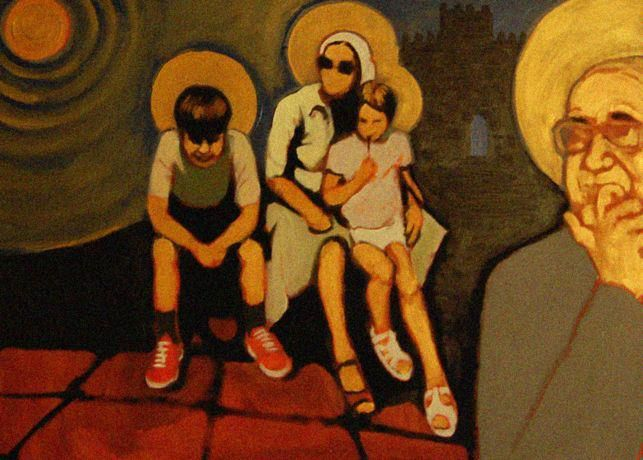"""sacred family"" - detail - acrylics on canvas"