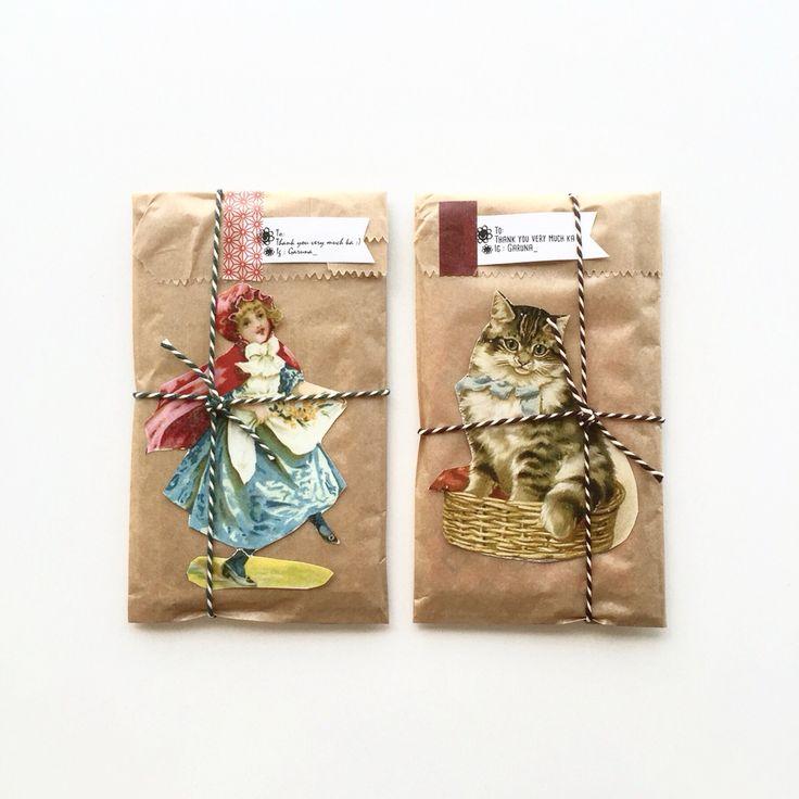 brown paper package, string, washi tape, stamped tag, vintage card/illustration from garuna_