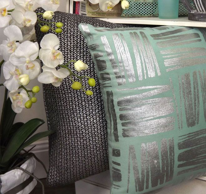 Foil Moss Knit 50x50cm Filled Cushion Charcoal and Silver