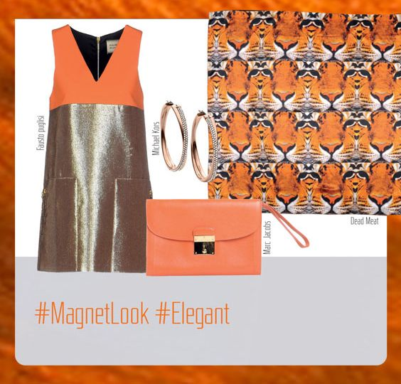 Alice Springs Outfit: Fausto Puglisi Dress, Marc Jacobs Handbag, Dead Meat Foulard, and Michael Kors Earrings.