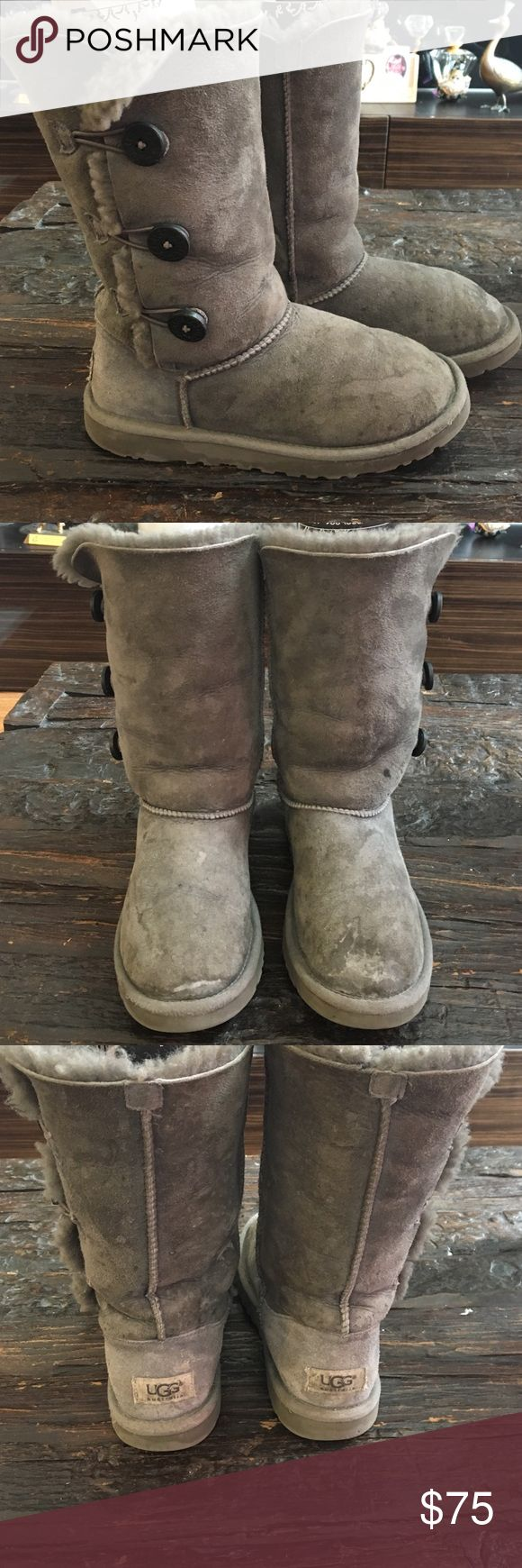 UGG Tall Grey Boots Authentic UGG Tall Grey Boots Authentic dark grey bottoms on side, pure warmth, comfort, and style all grey UGG Boots!  no tears or rips! Will look at all offers but through the offer button only Thanks UGG Shoes Winter & Rain Boots