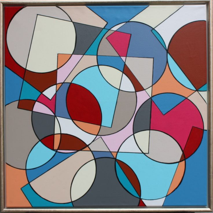 Circle and Square nr. 2 70  x  70  cm i akryl