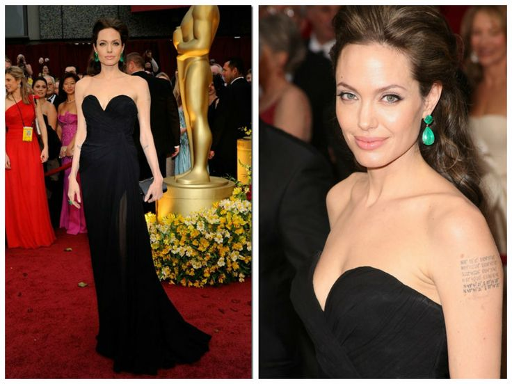 Angelina looked breathtaking in the 2009 Oscars. She wore a classic black Elie Saab gown with a sweetheart neckline. The finished the look off with some gorgeous emerald earrings.