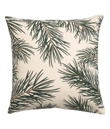 Natural white/pine needles. CONSCIOUS. Cushion cover in unbleached organic cotton fabric with a printed Christmas pattern and concealed zip.