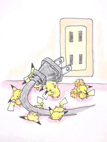 Aww they're all trying to lift the plug and then theres the one Pikachu who's just eating it! So cute!