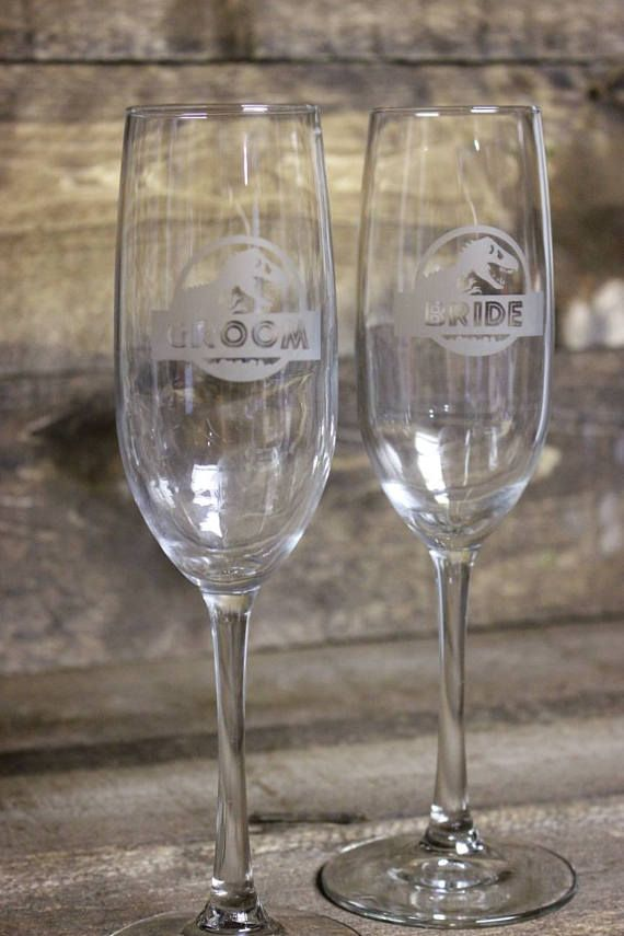 Jurassic Park bride groom champagne glass jurassic park