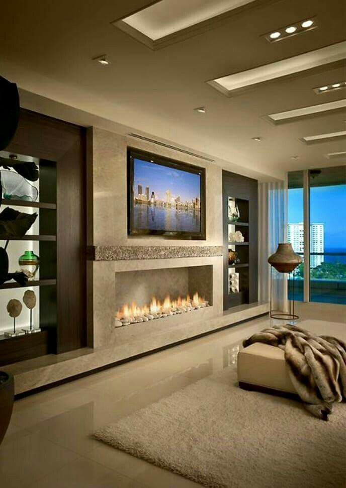 424 best linear fireplaces linear contemporary images on pinterest - Living room contemporary fireplace design ...
