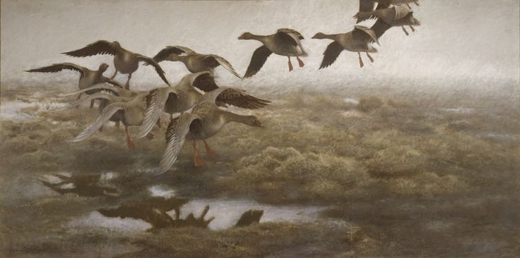 Wild Geese [...] By Bruno Liljefors, 1907. Nationalmuseum