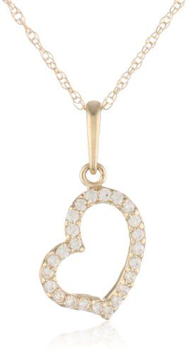 10k Yellow Gold Heart Pendant Enhancer with Swarovski Zirconia  (1/5 cttw) * Want to know more, click on the image.