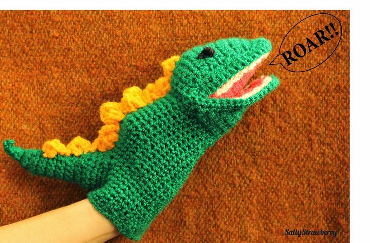 Crochet dinosaur hand-puppet by SallyStrawberry