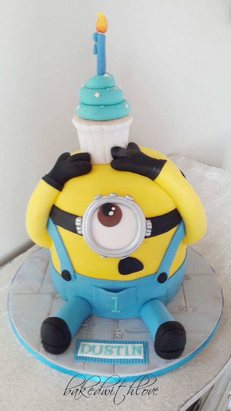 Minion cake with cupcake  https://www.facebook.com/pages/Baked-with-Love/115563808503000?sk=timeline