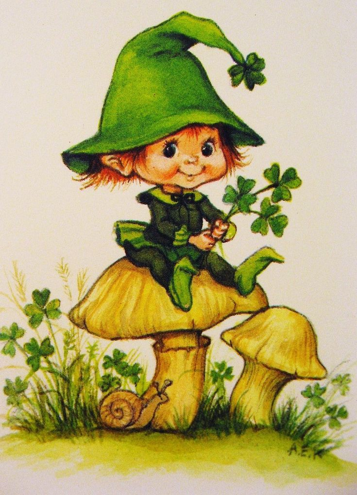 Vintage Irish Leprechaun Card. CASE with Knobbly Gnomes for a St. Patricks's day themed card.