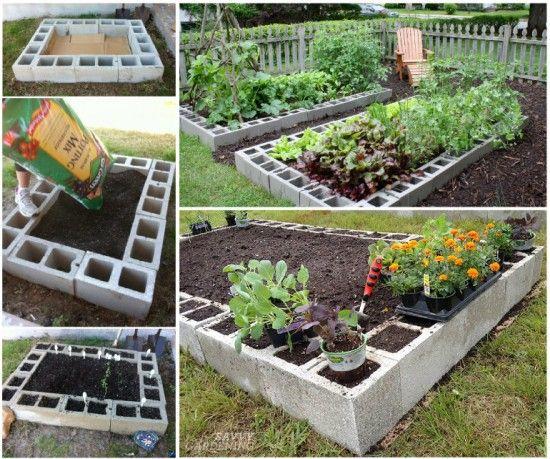 12 avantages à faire son jardin avec des blocs de béton! Jardin lit surélevé.