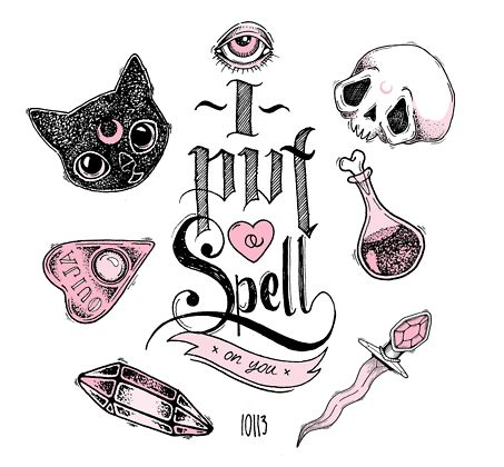 I put a spell on you - skulls - black cats - ouija - witch - kawaii cute drawing - pen and ink