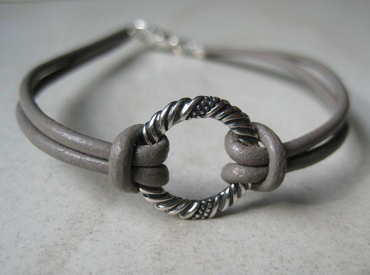 Bracelet cordon homme cuir et argent 925 N1233 : Bijoux pour hommes par ninanina