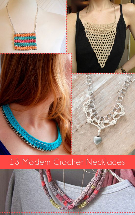 13 Modern Crochet Necklaces Roundup - all FREE