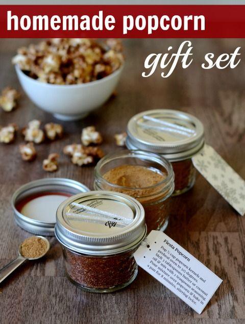 Homemade Popcorn Holiday Gift Set ~ Fiesta Popcorn Mix, Chocolate Popcorn Mix, Gingerbread Popcorn Mix