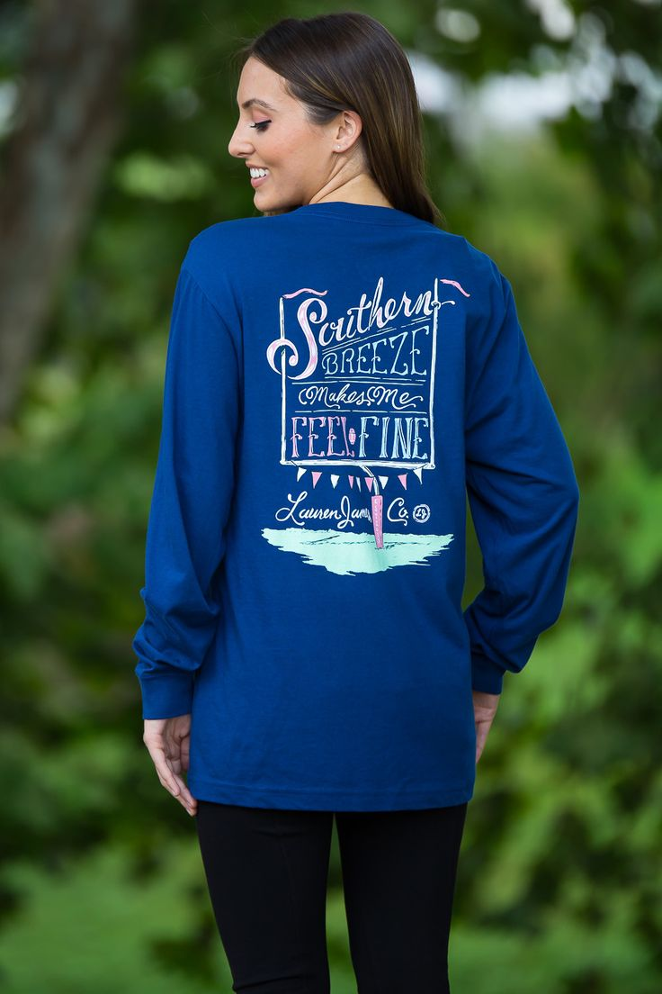 Lauren James-Southern Breeze Long Sleeve Top-Estate Blue