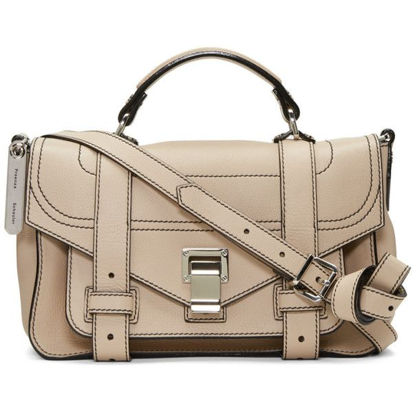 Proenza Schouler Beige Tiny PS1and Satchel ($1,125) ❤ liked on Polyvore featuring bags, handbags, beige, clasp handbag, handbag satchel, pink satchel handbags, satchel bag and satchel purses