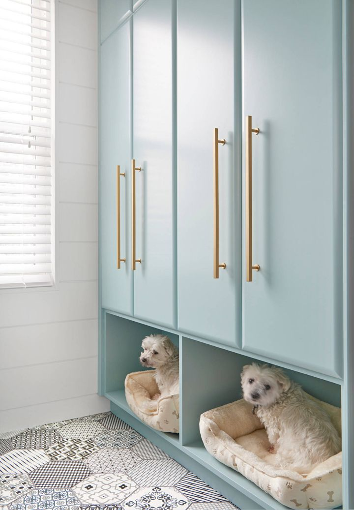 laundry room storage with built-in dog beds - more at megacutie.co.uk