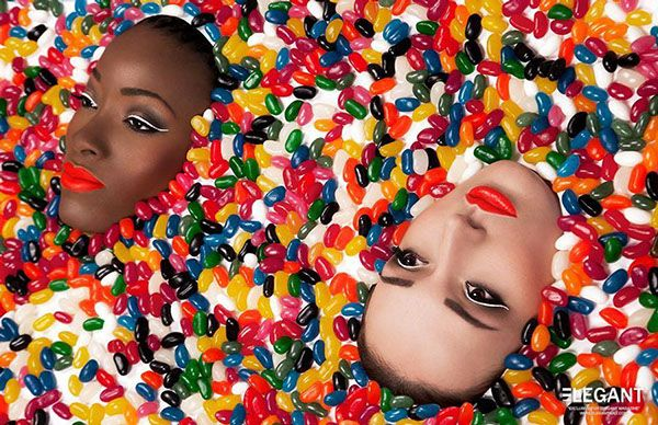 Title: #Jelly  Model: Camila García Aristizábal & Bah Oumou  HMUA:  #BronwynGillespie #Makeup #Artist and #Hairstylist Photographer: #AliceChapman - Designer Creations Retoucher/Post Production: Professional #Retouching by #AkvileVinikaite  #jellybeans #jelly #rainbow #colourful #editorial #elegant #published #beauty #sweet #candy http://bit.ly/13C0B0s