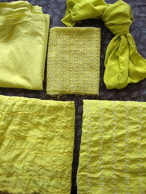 Chartreuse dye with white fabrics