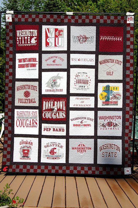 WSU Tee Shirt Quilt -- Go Cougs!! OMG I am going to do this. I'm going to start collecting shirts now! Ones that I don't mind not being able to wear right now. Haha. Then I'll put my favorites in a different quilt when I'm older! :)